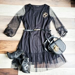 Shein polkadot mesh dress